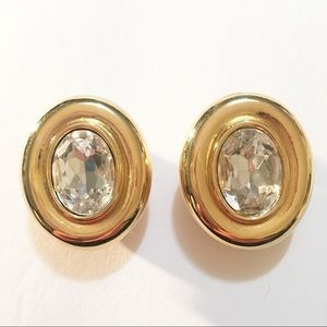 Givenchy Vintage Crystal Gold Clip Earrings